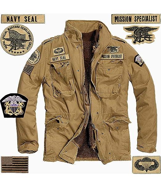 53ca14e08e GEN.CON. Giaccone Militare Americano Navy Seals, Field Jacket USA Colore  Sabbia, Uomo.