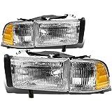 DNA Motoring HL-OEM-DR94-4P OE Style Headlights+Corner Lights Compatible with 94-02 Ram