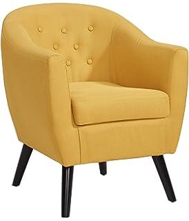mobilier deco fauteuil scandinave en tissu jaune jenna - Fauteuil Scandinave Moutarde