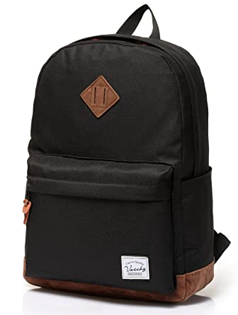 Vaschy Unisex Classic Lightweight Water-resistant Campus School Rucksack  Travel Backpack Bookbag Black Fits 14 0fef2f5b00f49