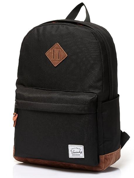 Vaschy Unisex Classic Lightweight Water-Resistant Campus School Backpack  Travel Rucksack Bookbag Black Fits 14 20b97c3914