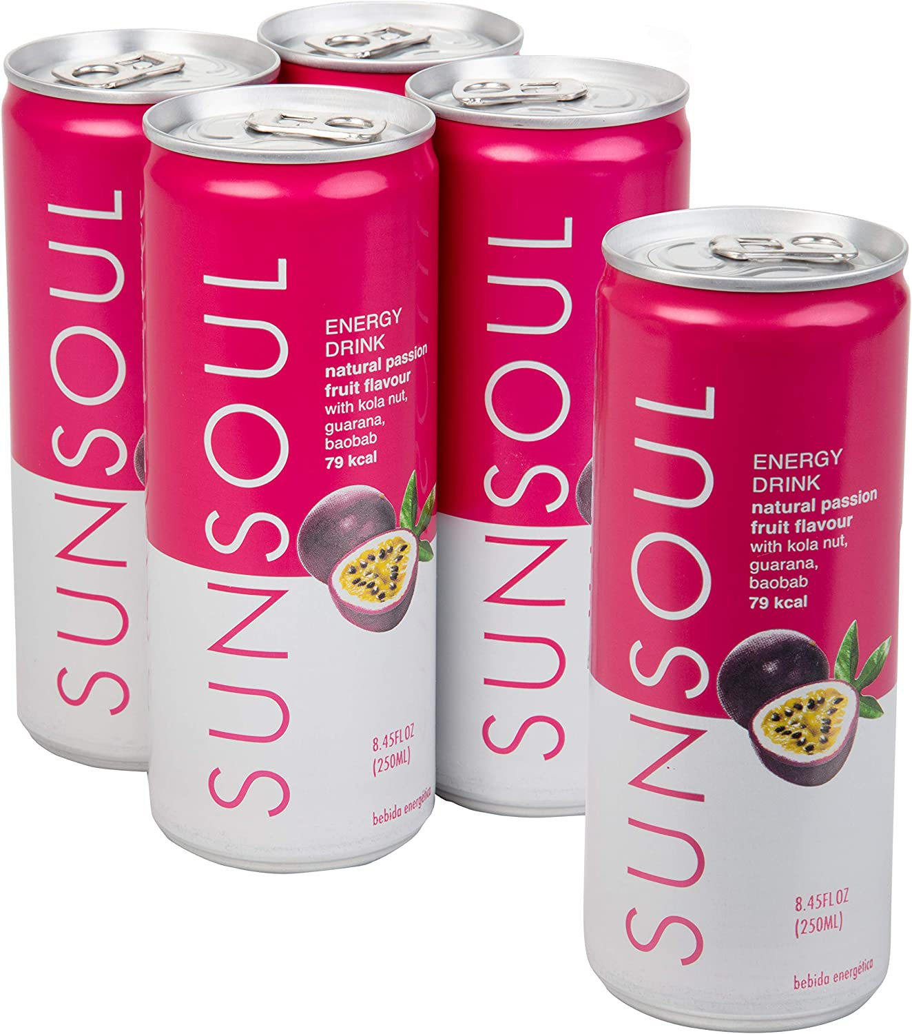 SUNSOUL All Natural Healthy Energy Drink - Low Calories & No Refined Sugar & No Artificial Ingredients - Passion Fruit Flavor - 4 Pack
