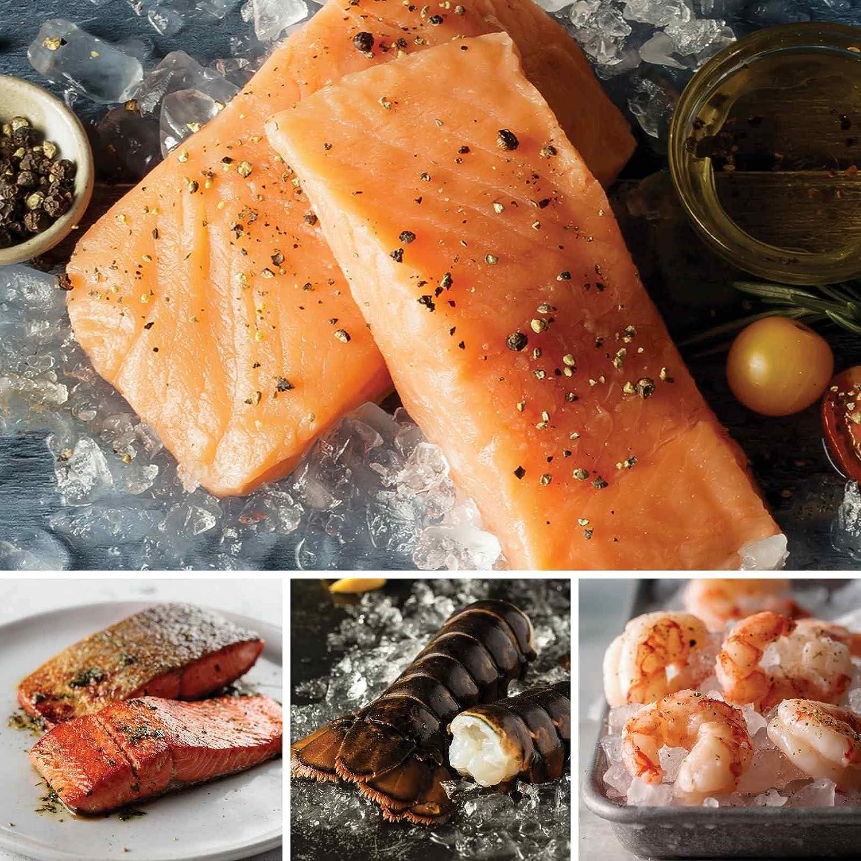 Premier Seafood Gift Sampler from Omaha Steaks (Faroe Islands Salmon Fillets, Wild Alaskan Skin-On Sockeye Salmon, Lobster Tails, and Wild Argentinian Red Shrimp)