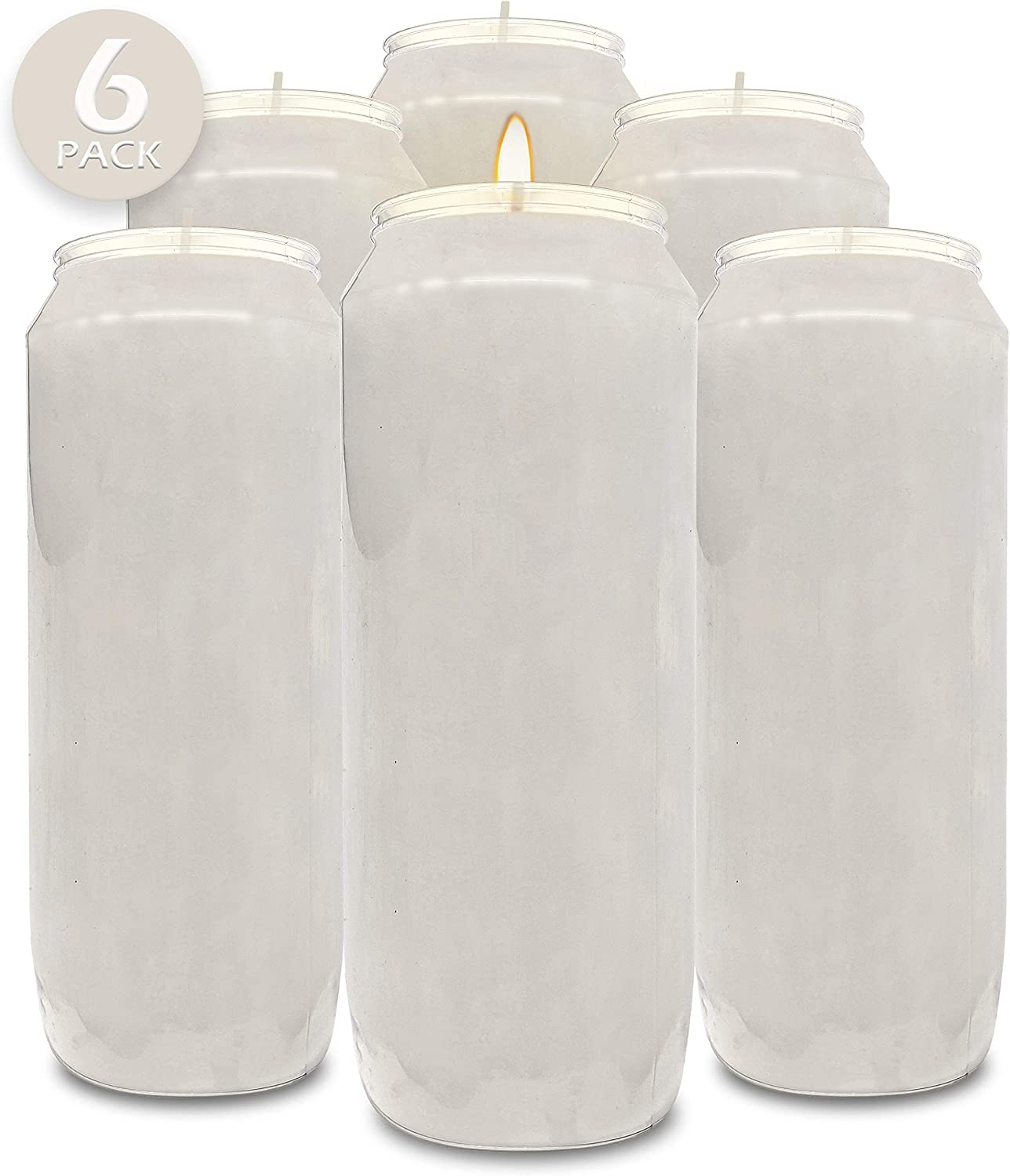 "Hyoola 9 Day White Prayer Candles, 6 Pack - 7"" Tall Pillar Candles for Religious, Memorial, Party Decor, Vigil and Emergency Use - Vegetable Oil Wax in Plastic Jar Container"