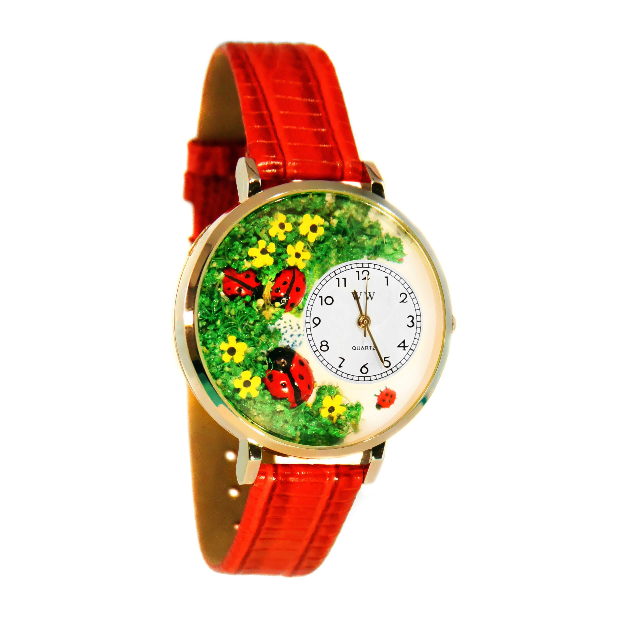 Whimsical Watches Women's G1210004 Lady Bugs Red Leather Watch