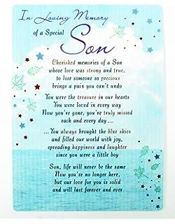 In Loving Memory Son Graveside Grave Cards Keepsakes Remembrance Bereavement