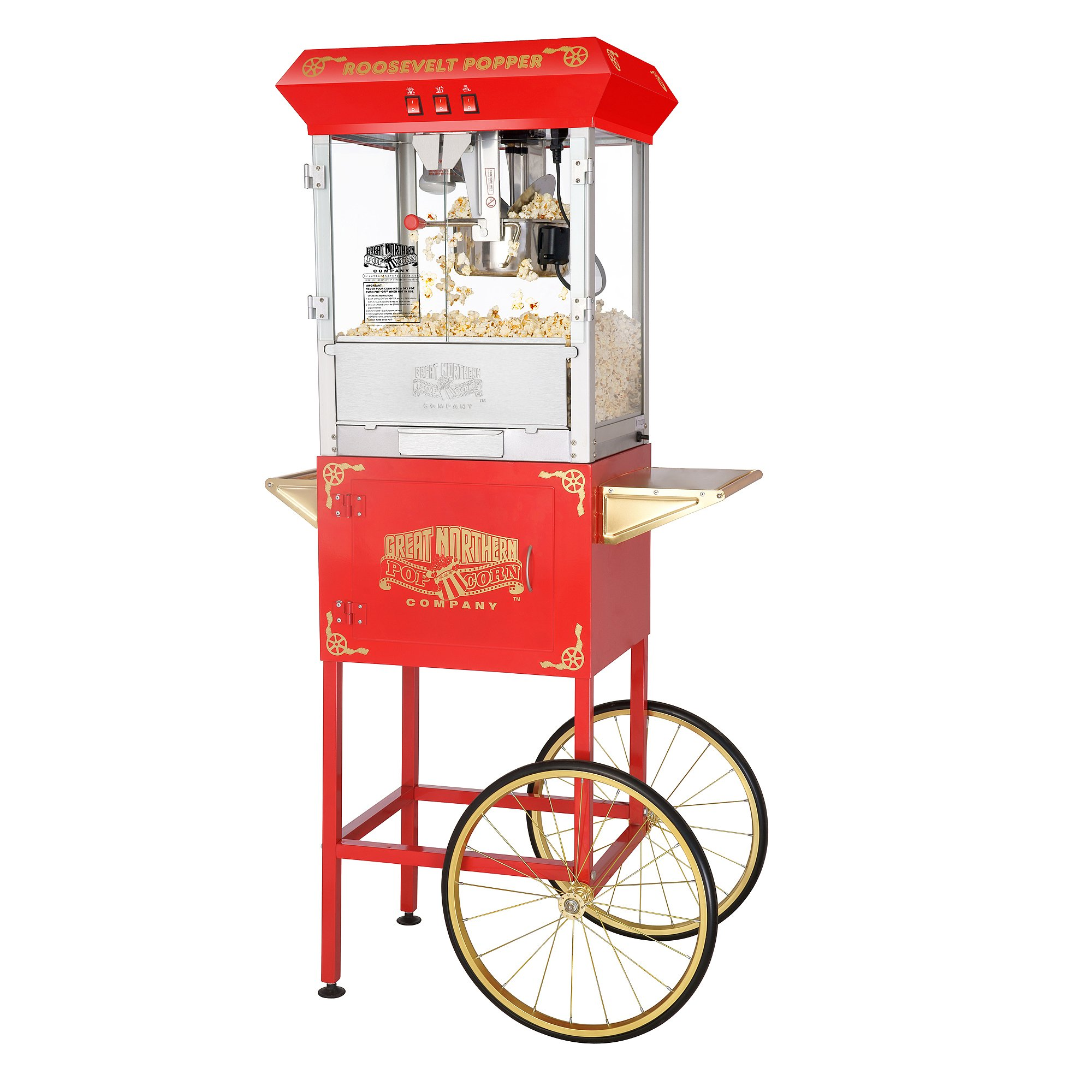 Great Northern Popcorn Red Roosevelt 8 Ounce Antique Popcorn Machine and Cart