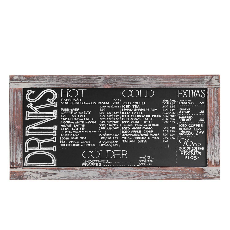 Flexzion Wall Chalkboard Sign Rustic Wooden Framed - Hanging Decorative Wedding Chalkboard Message Memo Display - Vintage Torched Restaurant Black Board for Cafe Bar Kitchen Pantry & Wall Decor