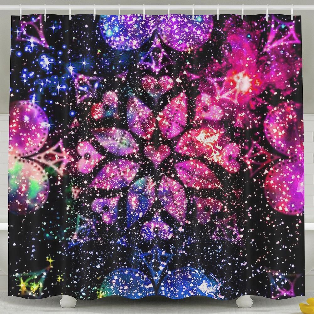 BINGO FLAG Funny Fabric Shower Curtain Bling Heart Waterproof Bathroom Decor With Hooks 60 X 72 Inch by BINGO FLAG