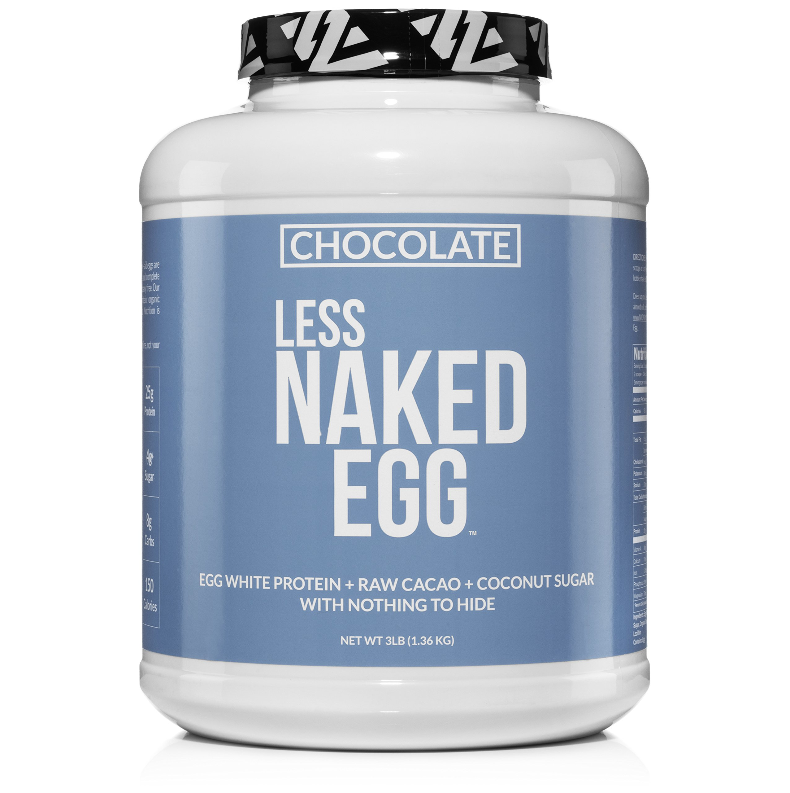 CHOCOLATE LESS NAKED EGG - Non-GMO Egg White Protein Powder from US Farms - 3lb Bulk, No Additives, Paleo, Dairy Free, Gluten Free, Soy Free - 25g Protein, 36 Servings by NAKED nutrition