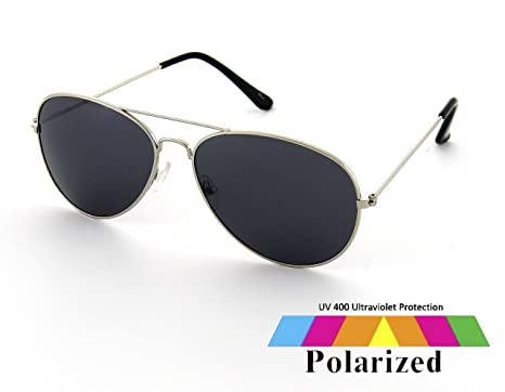 0af89b5460 Silver Aviator Sunglasses Black Polarised Lens Designer Style Retro Mens  Ladies