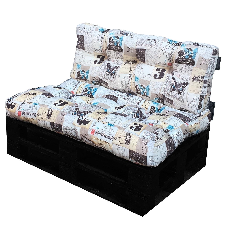 in morbido tessuto con disegni Cuscino per bancali Schienale 42x120x10-18 cm, FARFALLA cuscino per seduta divano pallet di legno