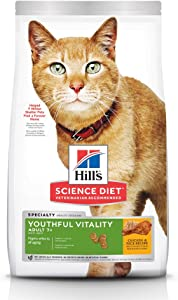 Hill's Science Diet Dry Cat Food, Adult 7+ for Senior Cats, Youthful Vitality, Chicken & Rice Recipe