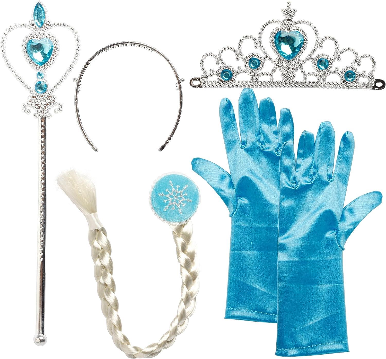 Tiara Crown Dressing up Girl 2 Pcs Set Frozen Princess Queen Anna Elsa Wand