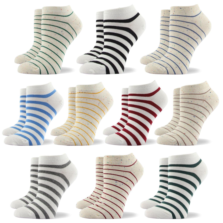 RioRiva Women Fashion Designs No Show Socks - Low cut Cotton Ankle Socks Patterned Style (US Women Size 5-9/EU 35.5-40, WSK110-10 Pairs Striped)