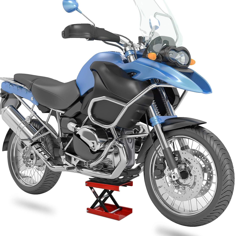 Homcom L/ève Moto b/équille datelier Stand Moto Tout-Terrain Moto Cross supermotard Hauteur r/églable Acier Rouge et Noir