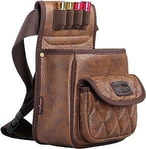 TOURBON PU Leather Shotgun Shell Bag Shooter's Bag for Range/Field