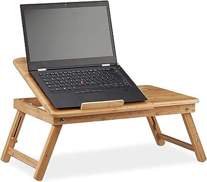 Relaxdays Natur Höhenverstellbarer Laptoptisch Fürs Bett Bambus Notebooktisch M Amazon De