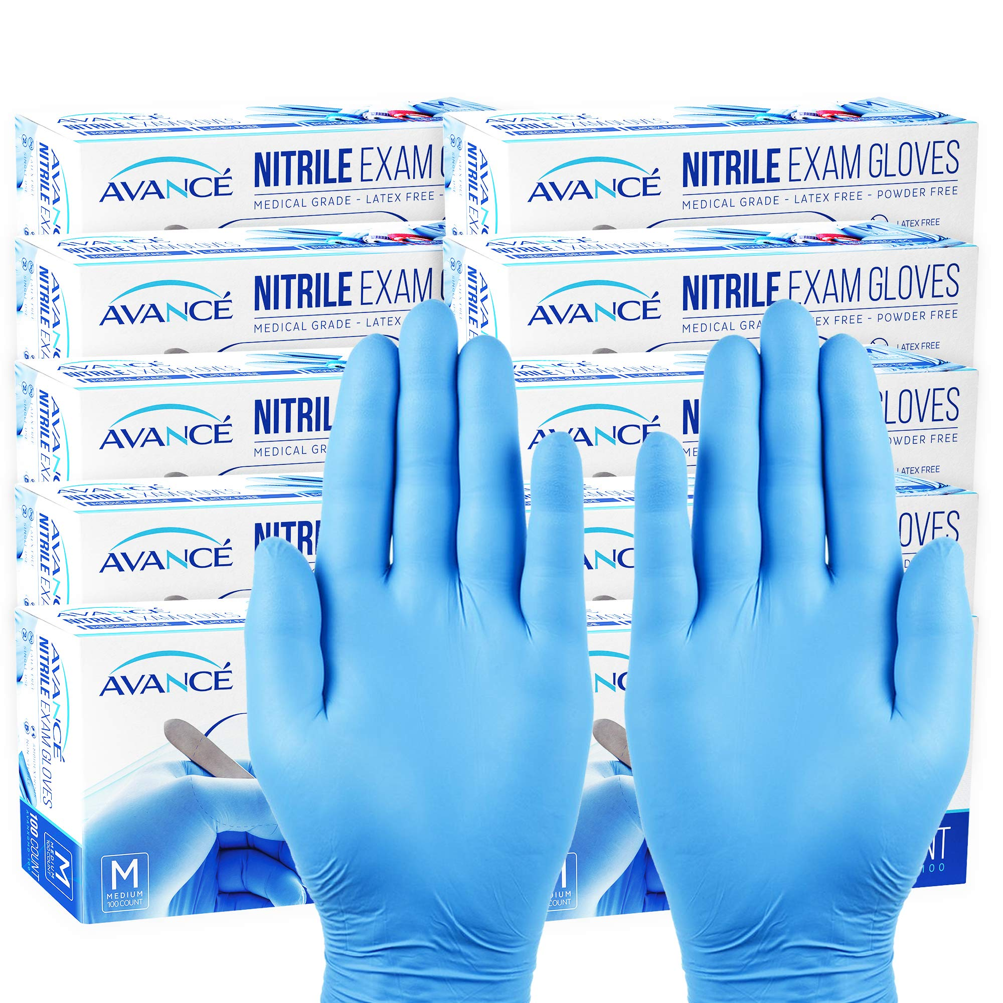 Avancé Nitrile Exam Gloves Medical Grade Powder-Free Textured Fingertips Latex-Free Synthetic Rubber Non-Sterile Disposable Ambidextrous Single Use, 3 Mil Thickness, Blue, Medium, 10-Pack (1000) by AVANCÉ