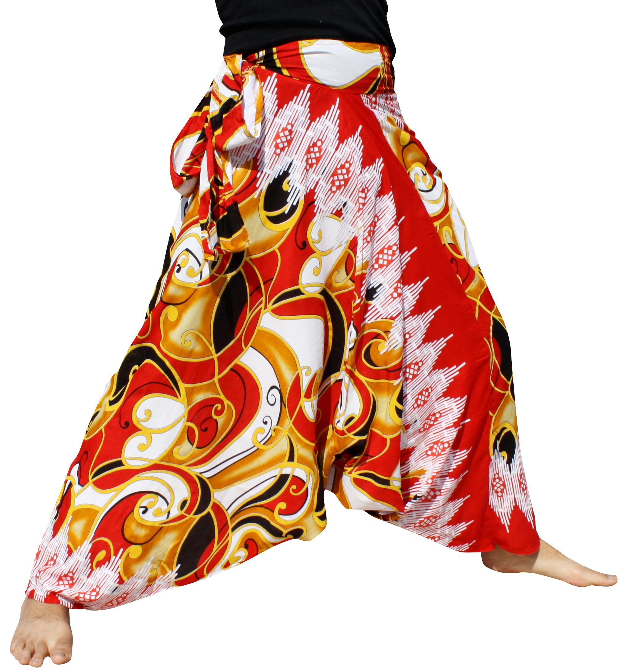 Raan Pah Muang Mixed Art Baggy Side Tie Mao Hmong Hill Tribe Harem Pants, XX-Large, Curved Steel Red by Raan Pah Muang