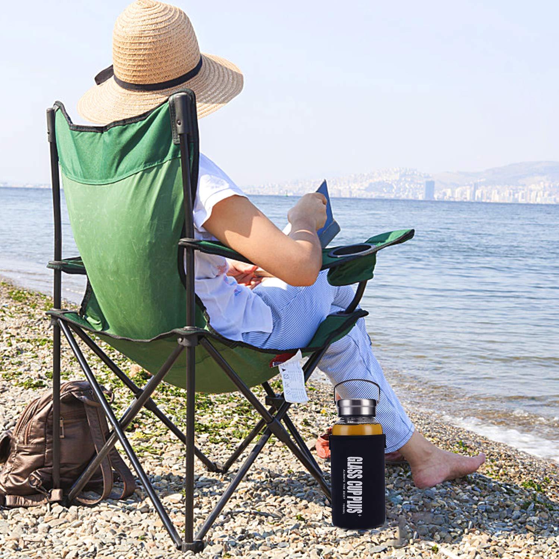 Botella de Agua de Cristal sin BPA para Bebidas fr/ías y Calientes Funda de Neopreno y Cepillo de Limpieza para Bebidas fr/ías y Calientes con Filtro Botella de Agua1000ml