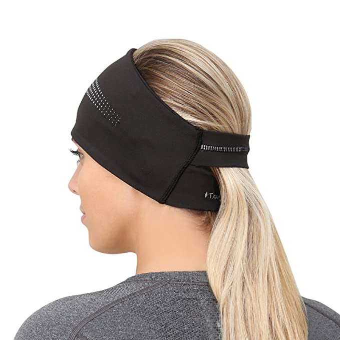 TrailHeads Ponytail Headband - Adrenaline Series | Women's Running Headband with Reflective Accents - Black/Reflective best winter headbands