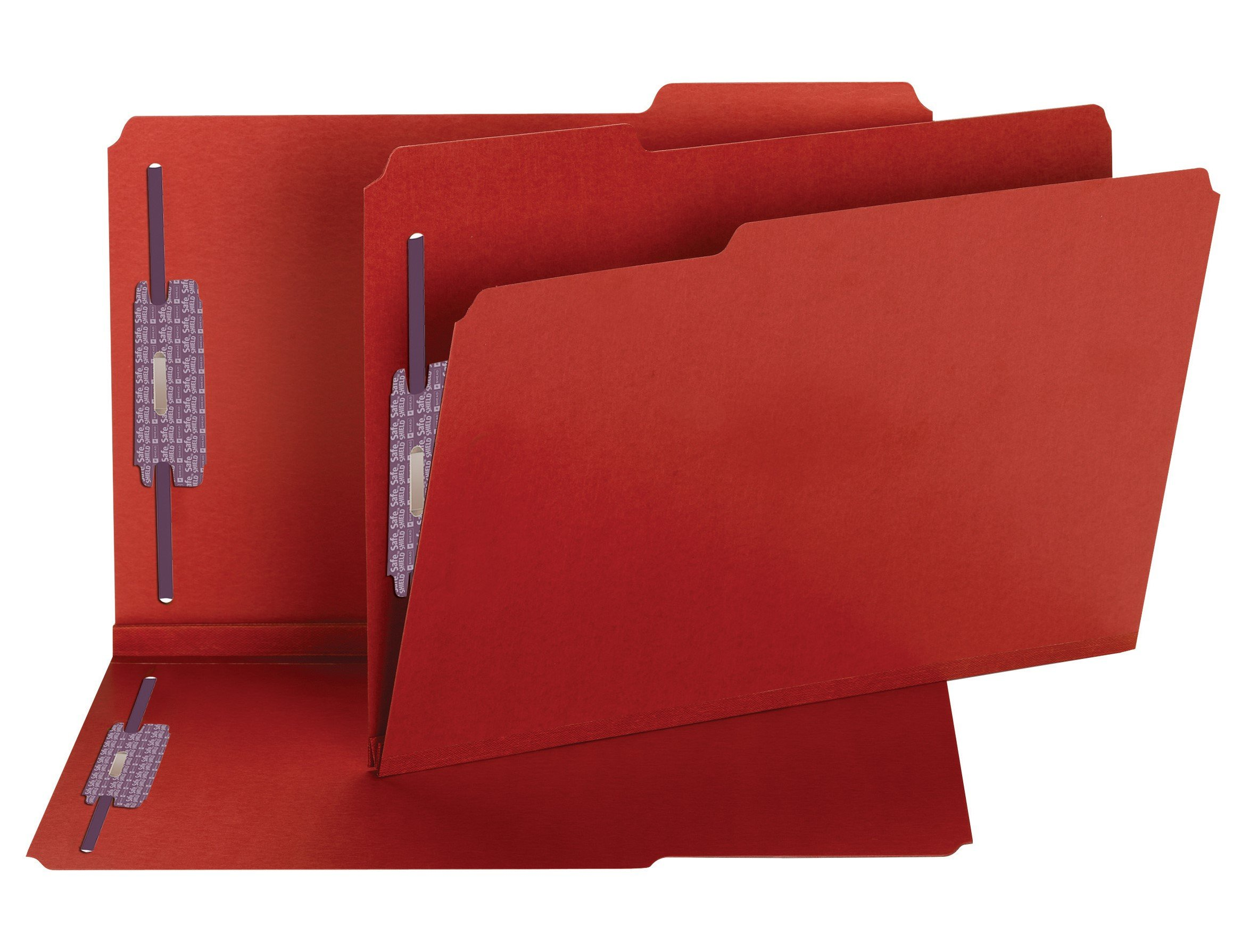 Smead Pressboard Fastener File Folder with SafeSHIELD Fasteners, 2 Fasteners, 1/3-Cut Tab, 2'' Expansion, Legal Size, Bright Red, 25 per Box (19936) by Smead