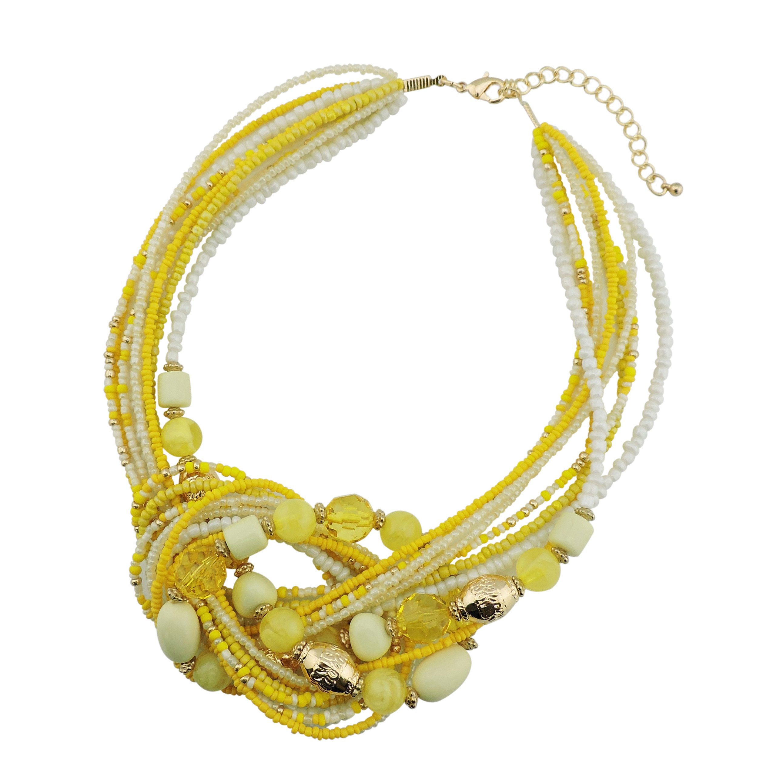 BOCAR Yellow Seed Beads Multi Strand Statement Collar Necklace (NK-10345-yellow)