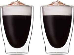 Circleware Thermax Double Wall Insulated Heat Resistant Espresso Glass Tea & Coffee Cups Set of 2, Home Kitchen Cappuccino Beverage Drinking Entertainment Glassware, 10.1 oz, Clear
