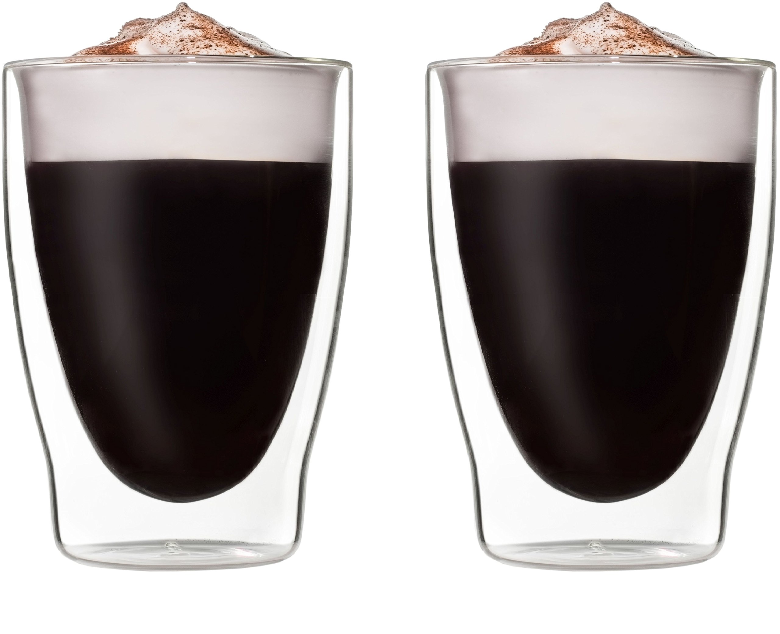 Circleware Thermax Double Wall Insulated Glass Latte Tea & Coffee Mugs, Set of 2 Beverage Drinking Glasses Cups, 10.1 oz.