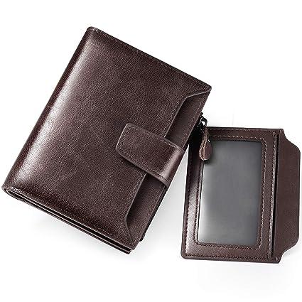 Cartera Hombre RFID Cuero Billetera Tarjetas Crédito con Monedas Bolsillo (Marrón)