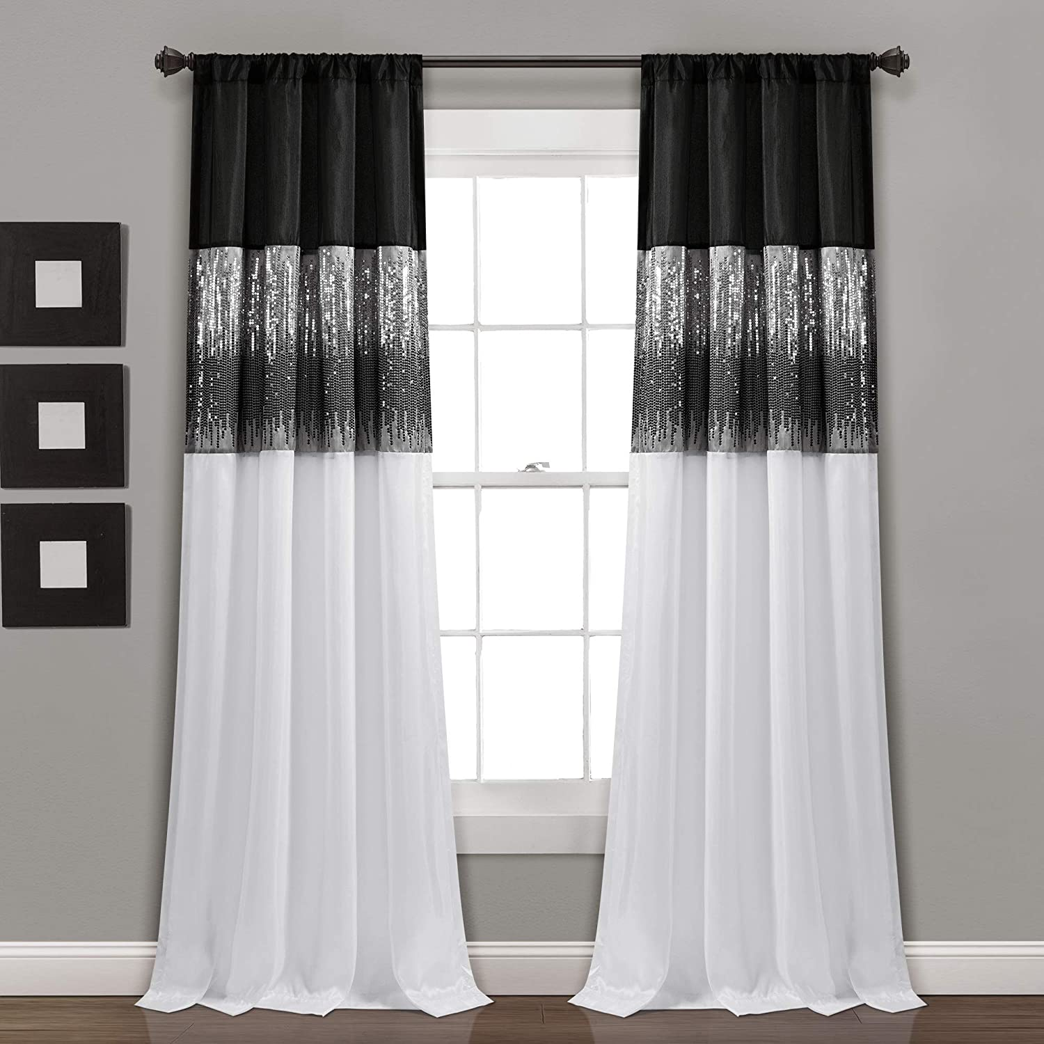 """Lush Decor Black and White Night Sky Panel for Living, Bedroom, Dining Room (Single Curtain), 84"""" x 42"""""""