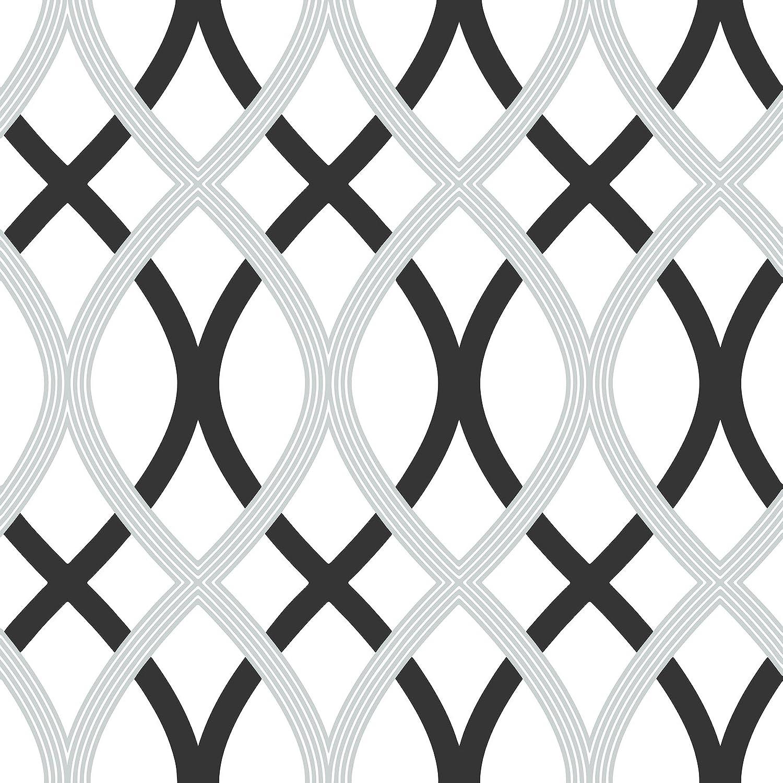 Wall Pops NU1658 Lattice Peel and Stick Wallpaper Black Silver
