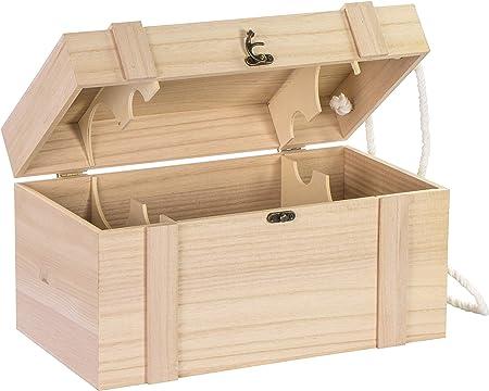 Caja de madera para 4 botellas de vino de Laublust, aprox. 35 x 19 ...