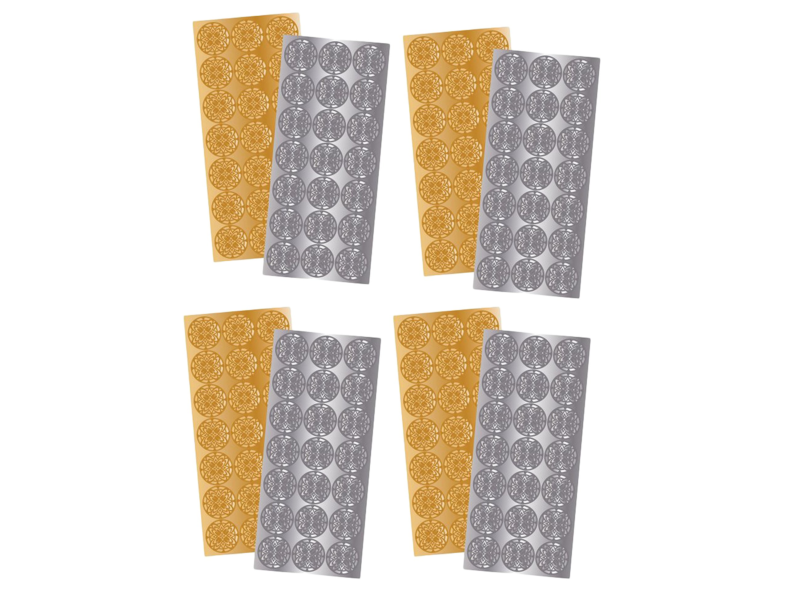 4 Pack of 2 Quality Park 21 Gold and 21 Silver Decorative Foil Envelope Seals by Maven Gifts