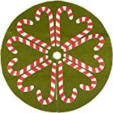 Juvale 30-Inch Christmas Tree Skirt - Candy Cane-Style Xmas Tree Decoration, Felt Christmas Tree Décor, Green