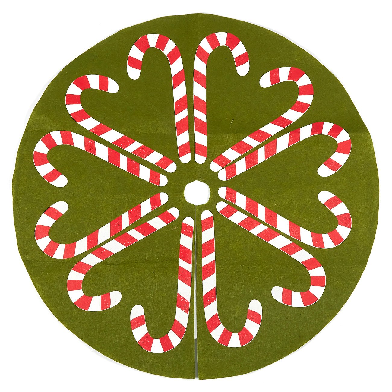 30-Inch Christmas Tree Skirt - Candy Cane-Style Xmas Tree Decoration, Felt Christmas Tree Decor, Green Juvale