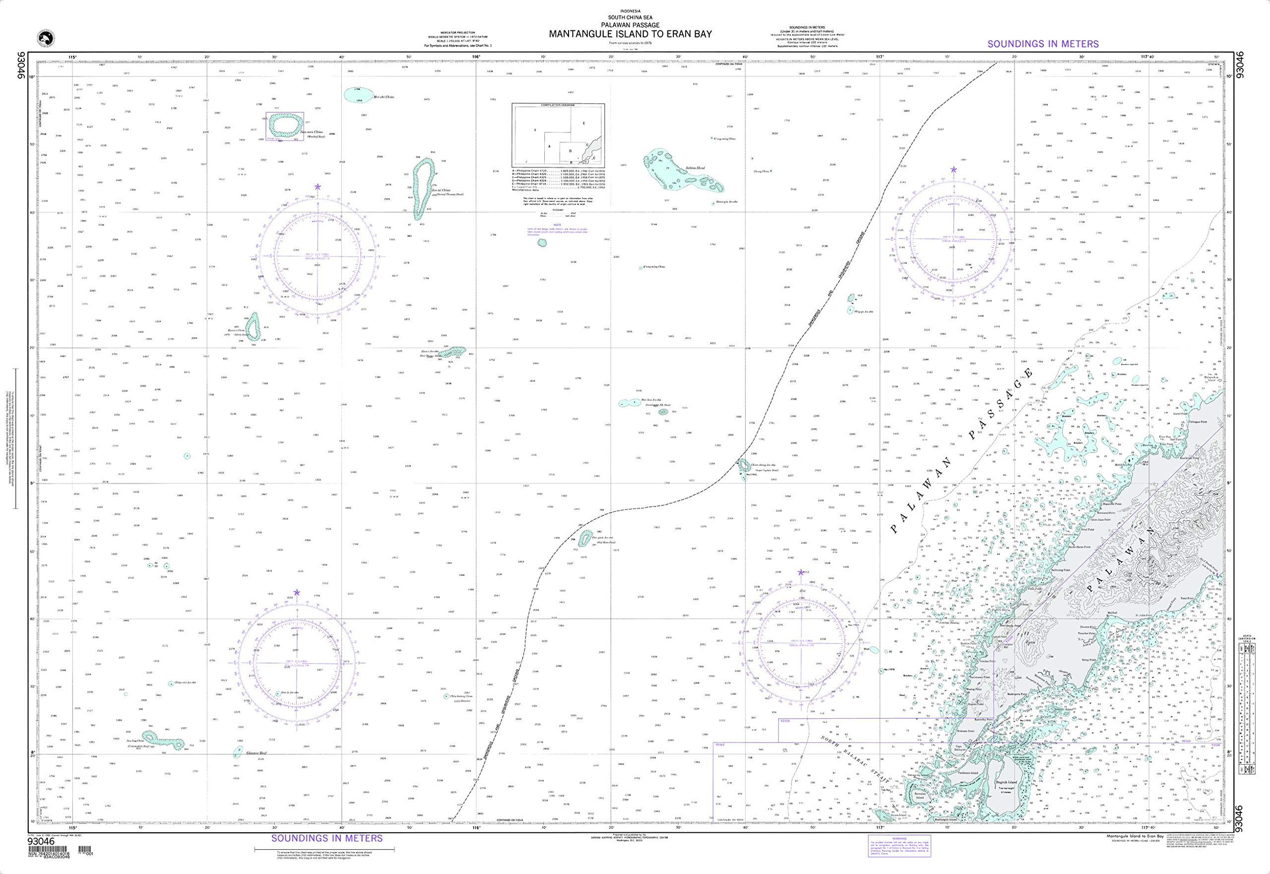 NGA Chart 93046 Mantangule Island to Eran Bay 54.5'' x 37.5'' Paper Chart