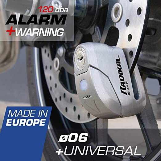 Radikal Rk9z Brake Disc Lock Alarm 120 Db Warning Led Diameter 6 Mm Universal Motorcycle Scooter Inox Auto