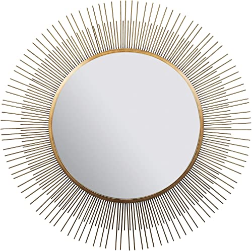 Everly Hart Collection 36 Gold Sunburst Wall Mounted Mirror