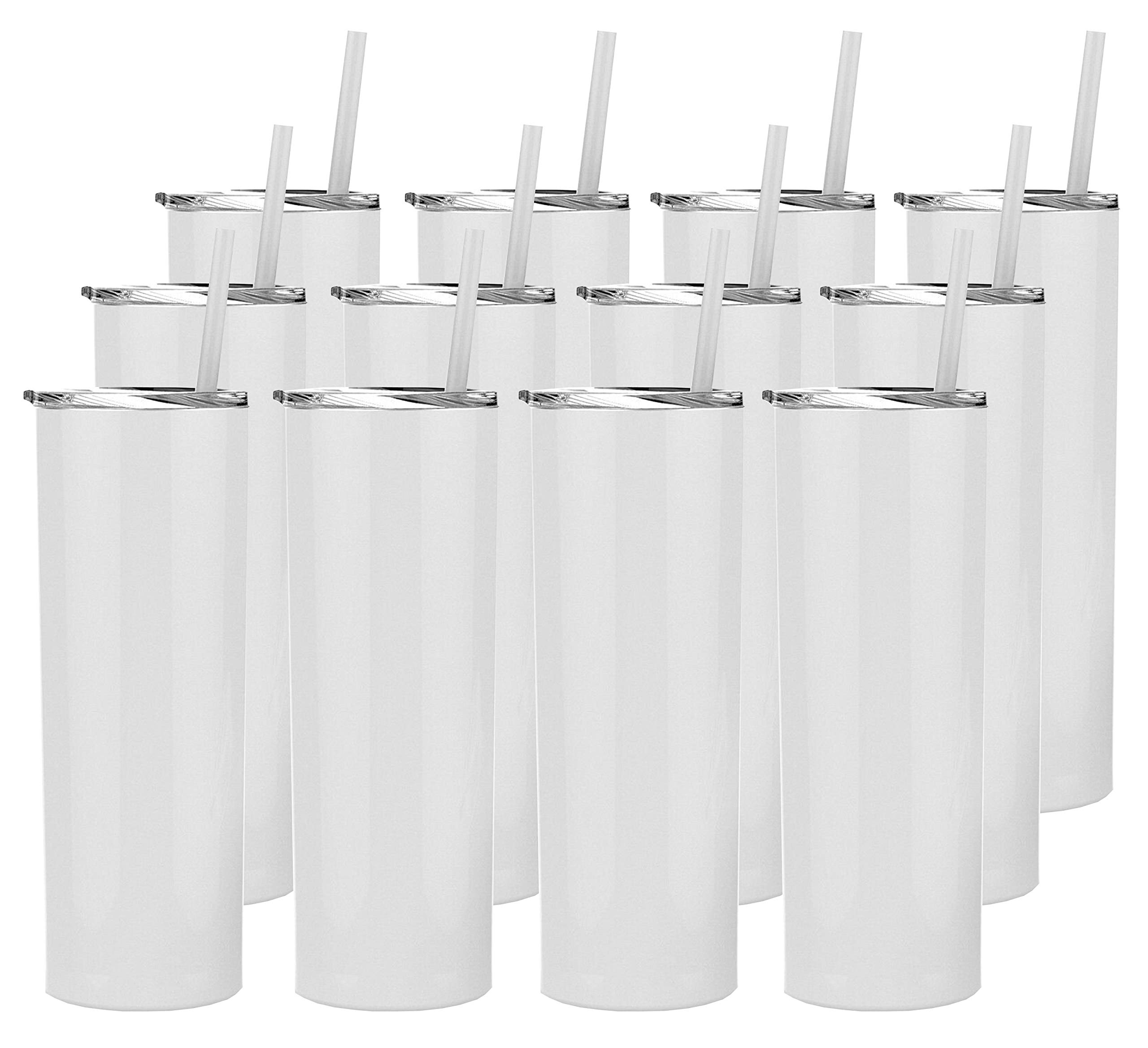 Stellar 20 oz. Skinny Steel 12 Pack Double Wall Stainless Tumbler (White) by Stellar