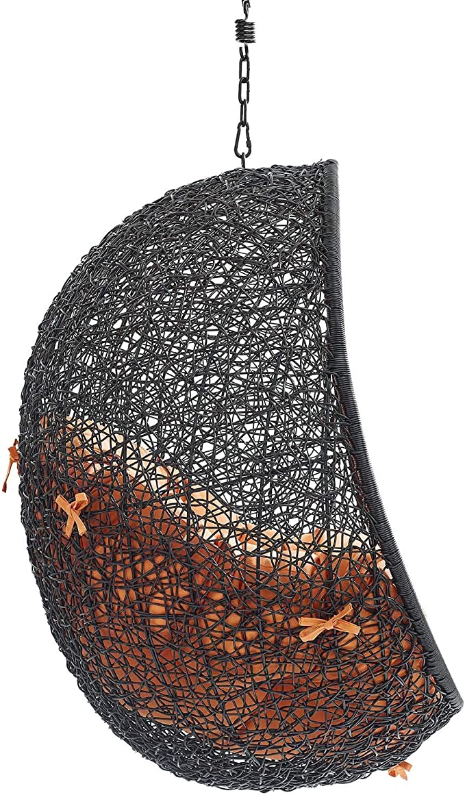 Modway EEI-3636-BLK-ORA Encase Swing Outdoor Patio Lounge Chair Without Stand Black Orange