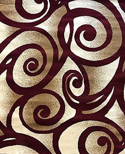 Bellagio Modern Area Rug Contemporary Swirl Burgundy Design 341 8 Feet X 10 Feet 6 Inch