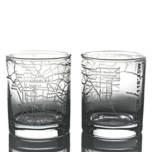 Greenline Goods Whiskey Glasses - 10 Oz Tumbler Gift Set for Los Angeles Lovers | Etched with Los Angeles Map | Old Fashioned Rocks Glass - Set of 2