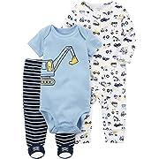 Carter's Baby Boys' 3 Piece Construction Sleep and Play Set Newborn