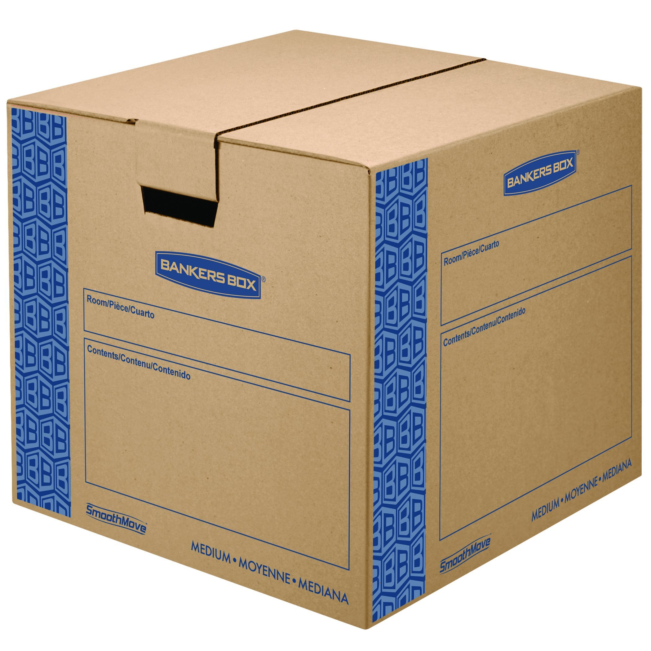 Bankers Box SmoothMove Prime Moving Boxes, Tape-Free, FastFold Easy Assembly, Handles, Reusable, Medium, 18 x 18 x 16 Inches, 8 Pack (0062801) by Bankers Box