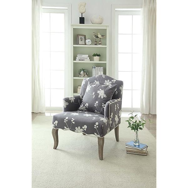 Linon 368312GRY01U Floral Arm Chair, Beige