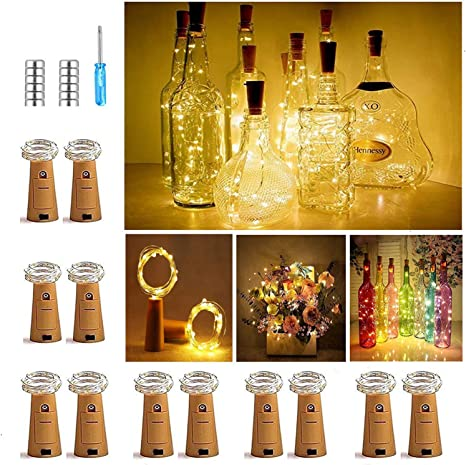 Oferta amazon: Luz de Botella, Luz Corcho Led, Botellas de Vino Luces 2m 20 LED a Pilas Decorativas Alambre Plata Luz, Luces de Hadas para Romántico Boda, Fiesta, Hogar, Exterior, Jardín, Blanco Cálido(12 Pack)           [Clase de eficiencia energética A+]