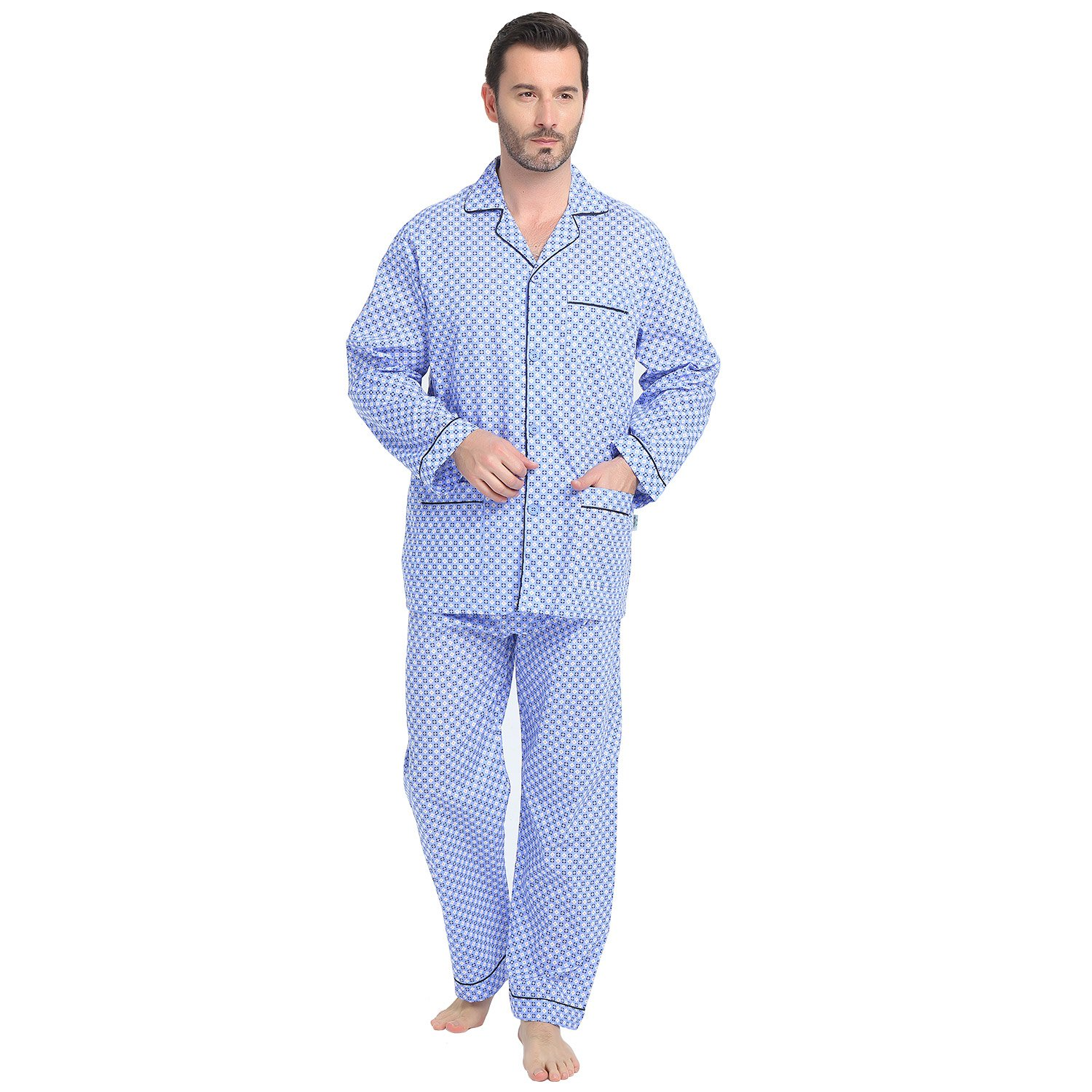 GLOBAL Sleepwear Set for Men, Soft Long Sleeve Top and Pants/Bottoms Pajamas with Elastic Waist