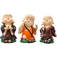 Karigaari India Handcrafted Set of 3 Resine Little Sitting Buddha Monk Sculpture | Showpiece for Home Décor and Office